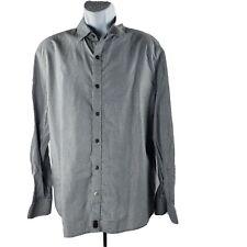 Juicy Couture Dirty Englisch Snap-Front Langarm Hemd XL Grau Silber Baumwolle
