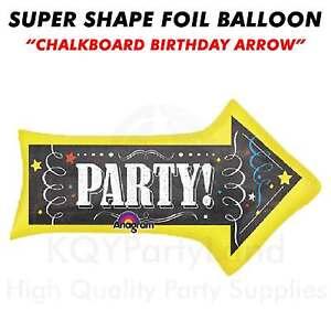 "Super Shape ""Chalkboard Birthday Arrow"" Jumbo Foil Balloon Helium Air Birthday"