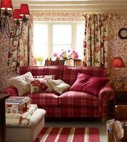 "Laura Ashley Peony Garden curtains Cranberry 64 x 54"" floral 162 x 137cm"