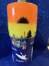 30 Oz Double insulated Stainless Steel glittered tumbler W/lid Sunset