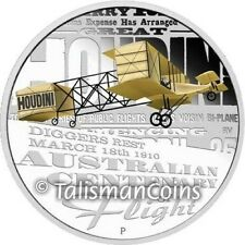 Australia 2010 Harry Houdini Centenary of First Powered Flight $1 Silver Proof