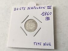 France - 20 centimes en argent Napoléon III 1860 A Tête Nue TTB