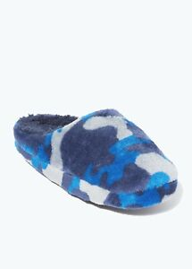 Kids Boys Blue Camo Mule Slippers (Younger 10-Older 6)