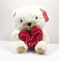 Hallmark Soft Teddy Bear With Love Heart Pillow Valentines Plush White Red 8.5in