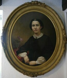 American School 19th century,Portrait of Mrs. Potter Oil On Canvas Painting
