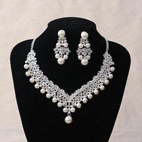 Women's Bride Crystal Pearl Necklace Earrings Tiara Bridal Wedding Jewelry Set