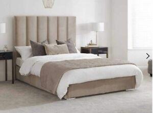 Mink Velvet Upholsterd Luxury Bed Double King size Superking