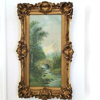 ANTIQUE LANDSCAPE ART PRINT OLD ORNATE FRAME ARTIST UNKNOWN RIVER W/ OLD BRIDGE