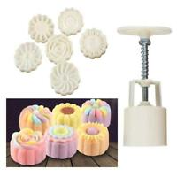 3D 6Style Stamps Round Letter Moon Cake Mold Mould White Set Mooncake Decor LZ