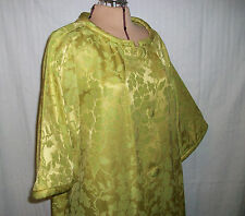 Neusteters Vintage Mid-Century 50s Gold & Green Brocade Acetate Woman's Robe S/M