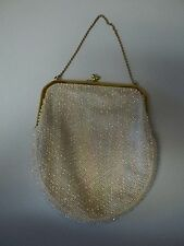 Vintage Corde Bead Evening Purse Clutch Gold Accents