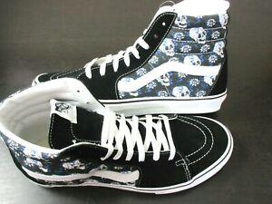 Vans Men's Sk8-Hi Flash Skulls Floral Canvas Suede Skate shoes Black Size 10 NWT