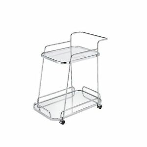 Ergode Serving Cart Clear Glass & Chrome Finish