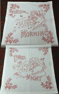 Antique Turkey Red Hand Embroidered Pillow Shams Pair Good Morning Good Night