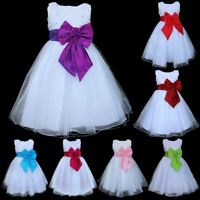 Baby Flower Girl Dress Kids Party Wedding Bridesmaid Formal Bowknot Tutu Dresses