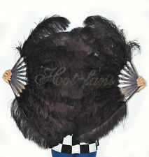 Coffee Single layer Ostrich Feather Fan for pair set 2 fans Burlesque friend