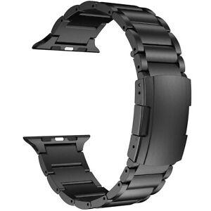 Titanium Metal Strap w/ Double Button Clasp for Apple Watch SE Series 6/5/4/3