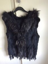 Black Rabbit real fur gilet with hood, fox or raccoon fur round hood