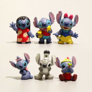 1 Set of 6 Disney Stitch Figures Figurines Cake Topper Ornament Decor Toy 2-3cm