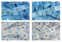 Christmas Ribbon Collection Frozen Blue or White Grosgrain or Satin 16 & 22mm