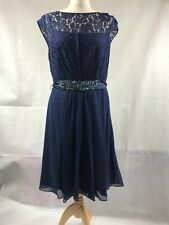 Coast Midi Dress Lori Lee Lace Navy Blue Womens Size 16 BNWT