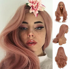 "AU STOCK 24"" Pink Long Natural Wave Synthetic Lace Front Wig  Heat Resistant"