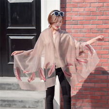 Women Summer Long Feather Pattern Print Chiffon Scarf Shawl Wrap Scarves SI
