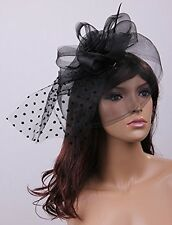 Hat Fascinator Vintage with  Veil & Clip - Black Wedding Races Party - FREE POST