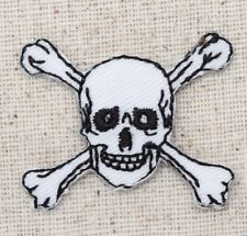 Small White Jolly Roger/Skull/Crossbones - Iron on Applique/Embroidered Patch