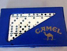 VTG 1989 CAMEL Cigarette Double 6 Dominoes Promotional Travel Set Blue Case NIB