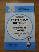 10/04/1971 Tottenham Hotspur v Ipswich Town  (Creased, Folded, Worn)