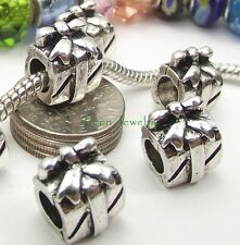 Silvertone Gift Box with Bow Bead Large Hole Slider for European Charm Bracelet
