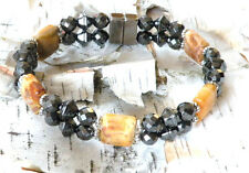Men's Womens CRAZY LACE AGATE Magnetic Healing Bracelet Anklet Circulation 2 row