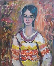 Louise BONFILS (1913-2010) HsT 1982 / Portrait / Fauvist / Fauvism / Fauviste