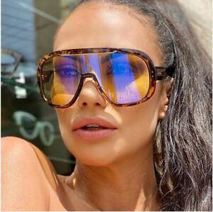 Women Designer Sunglasses One Piece Single Lens Oversize Shield Big Shades Retro