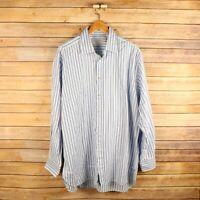 CHARLES TYRWHITT Men's Long Sleeve Button Front Shirt 17 35in. Blue Striped