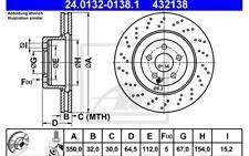 ATE Juego de 2 discos freno 350mm Ventilador/perforado para SEAT IBIZA
