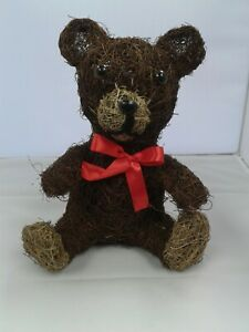 Decorative Teddy Bear With Red Ribbon Bow - Perfect For Christmas Indoor Outdoor