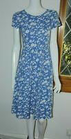 Seasalt Scoop Neck Blue White Floral Cotton Jersey Stretch Dress 10 12 14 16 18