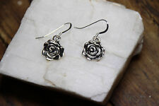 925 sterling silver earrings charm Rose bud Flower pewter charm hook dangle