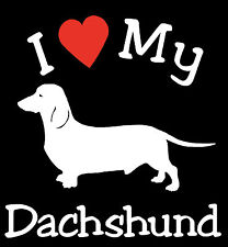 Pair of I Love My Dog DACHSHUND Pet Car Decals Stickers Ready to Apply
