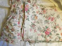 VINTAGE DORMA Cream Floral Duvet Cover & Valance Sheet Reversable DOUBLE