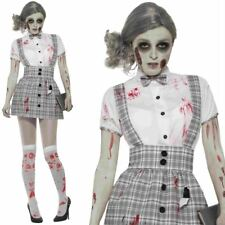 Ladies Zombie School Girl Costume Halloween Fancy Dress Outfit Scary