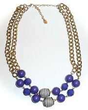 ROBERT ROSE - 2-STRAND PURPLE & STRIPED NAVY BEAD & GOLD CHAIN NECKLACE