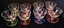 RARE Multicolor 8 Sherbet Dessert Cup Attached Saucer Depression Glass Cambridge