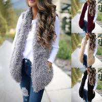 New Womens Sleeveless Jacket Coat Winter Warm Faux Fur Vest Waistcoat Outwear VS