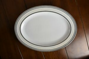 "Ralph Lauren dinnerware silk ribbon pearl 15.5""/11.5 serving platter Large white"