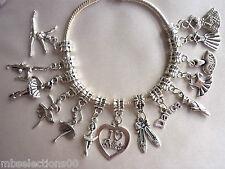 Ballet Dance Gymnastics Silver Plated European Charm Bracelet Tutu Slipper