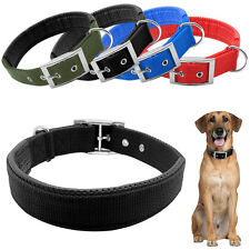 Nylon Padded Inside Pet Dog Collar Buckle Double Layer Heavy Duty For Dogs S M L