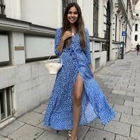 NWT ZARA BLUE LONG PRINTED DRESS W BELT LONG SLEEVE BUTTON FRONT SIZE M #1229